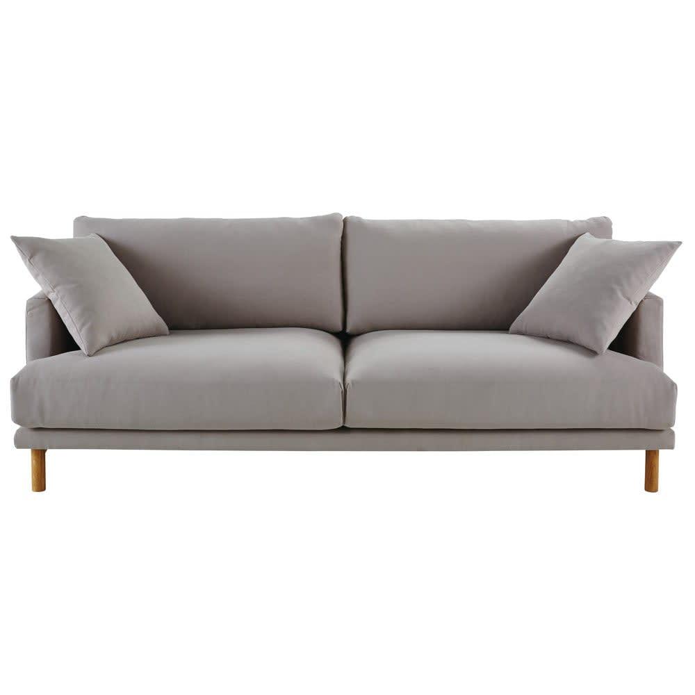 3 Sitzer Sofa Bezug Aus Baumwolle Und Leinen Hellgrau Raoul