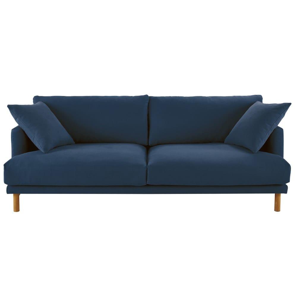 3 Sitzer Sofa Bezug Aus Baumwolle Und Leinen Marineblau Raoul