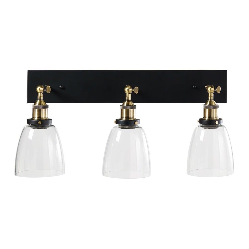 3-strahlige schwenkbare Wandlampe aus Glas und schwarzem Metall ...