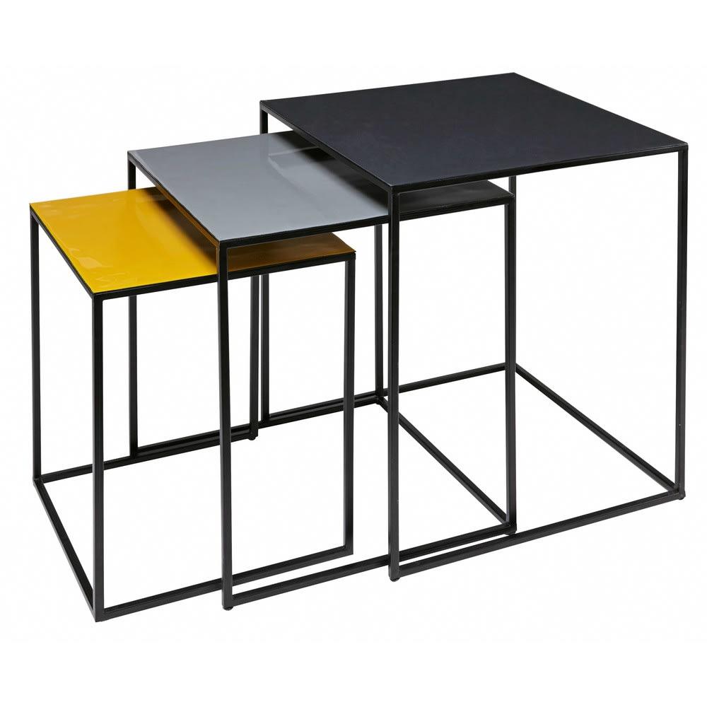 3 tavolini da salotto estraibili tricolore in metallo Hunstville ...