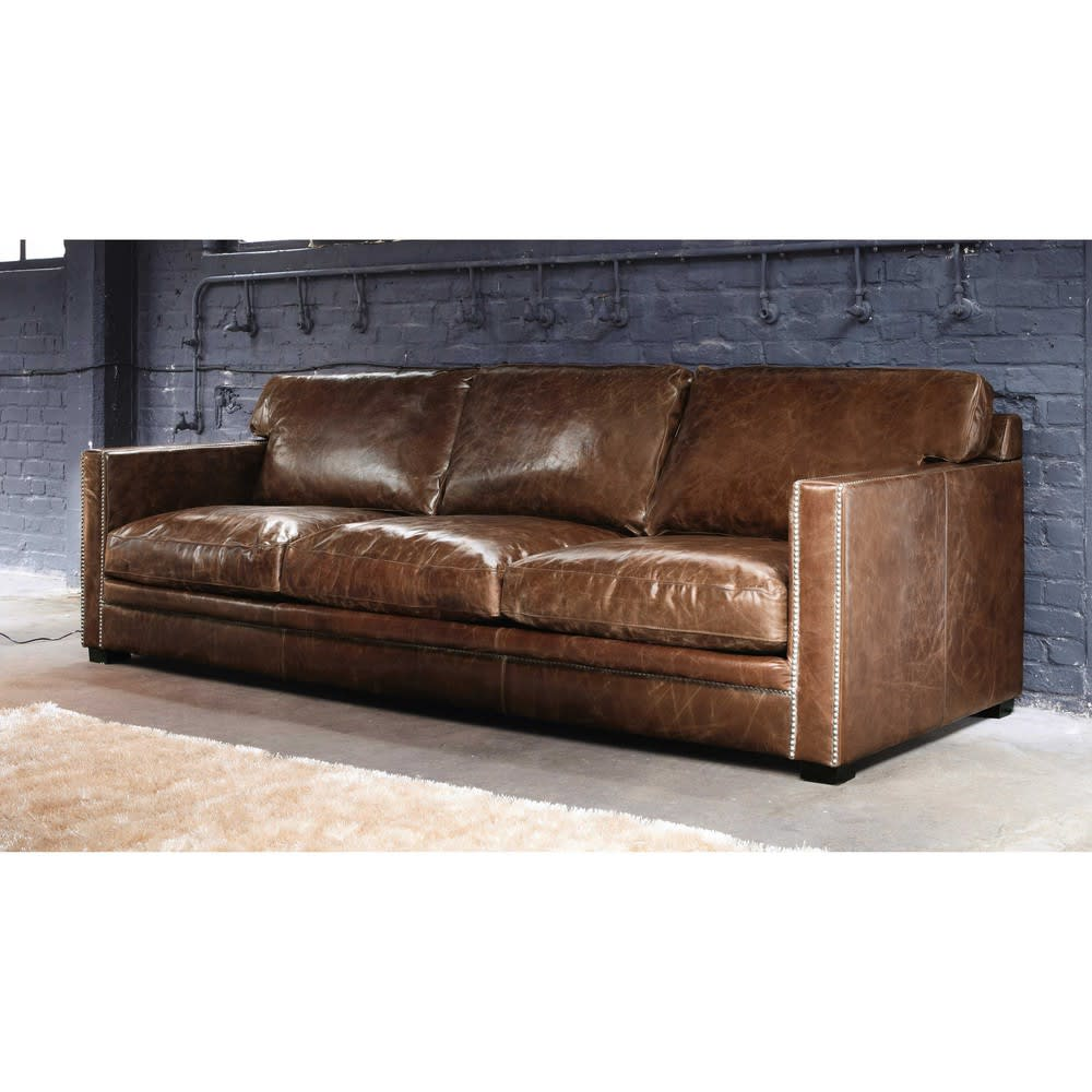 Stanley Leather Sofa Bangalore: 4/5 Seater Leather Sofa In Brown Dandy