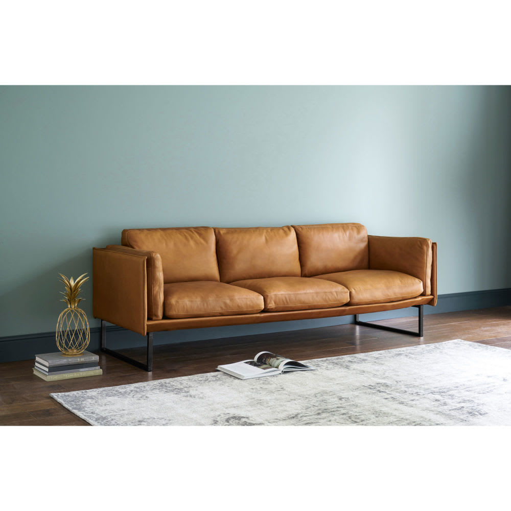 4 Sitzer Sofa Cognacfarbener Lederbezug Wolfgang Maisons Du Monde