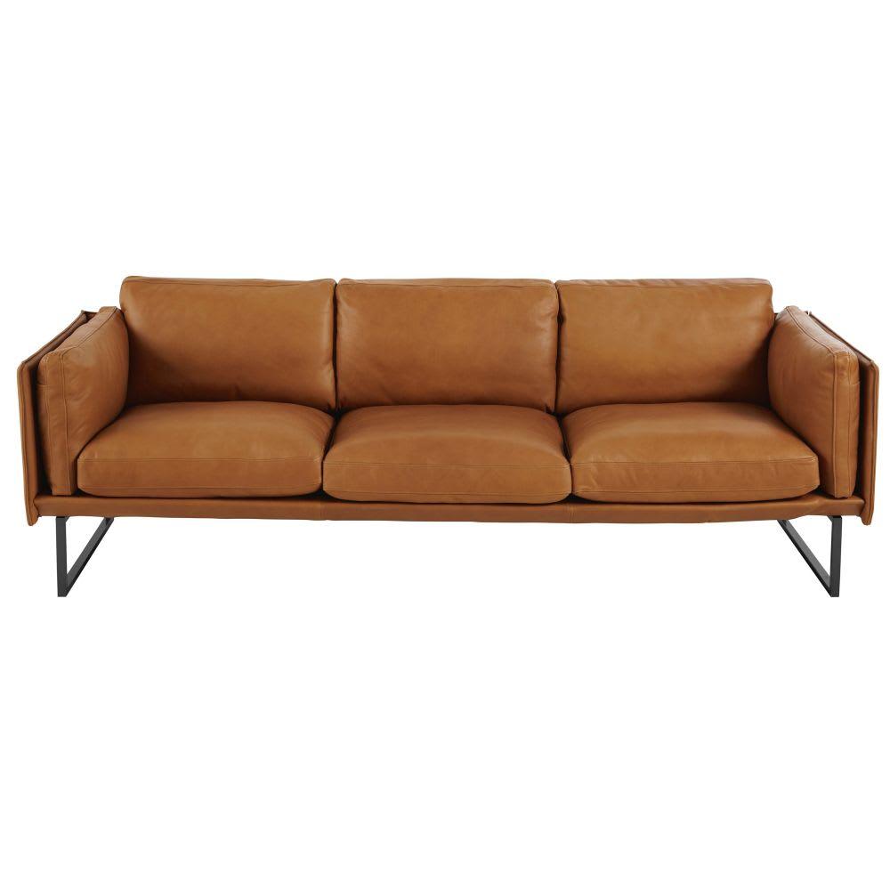 4 sitzer sofa cognacfarbener lederbezug wolfgang maisons du monde. Black Bedroom Furniture Sets. Home Design Ideas