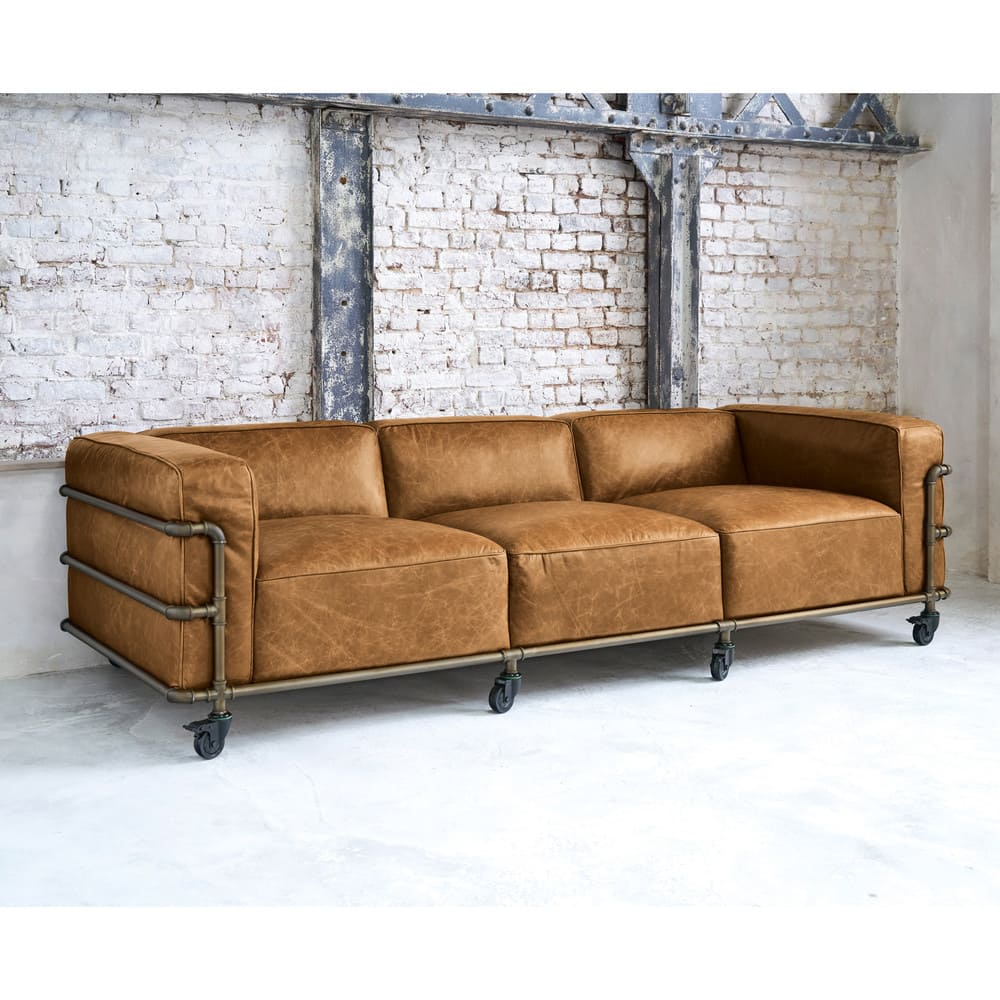 4 sitzer sofa im industriestil aus leder havannafarben fabric maisons du monde. Black Bedroom Furniture Sets. Home Design Ideas