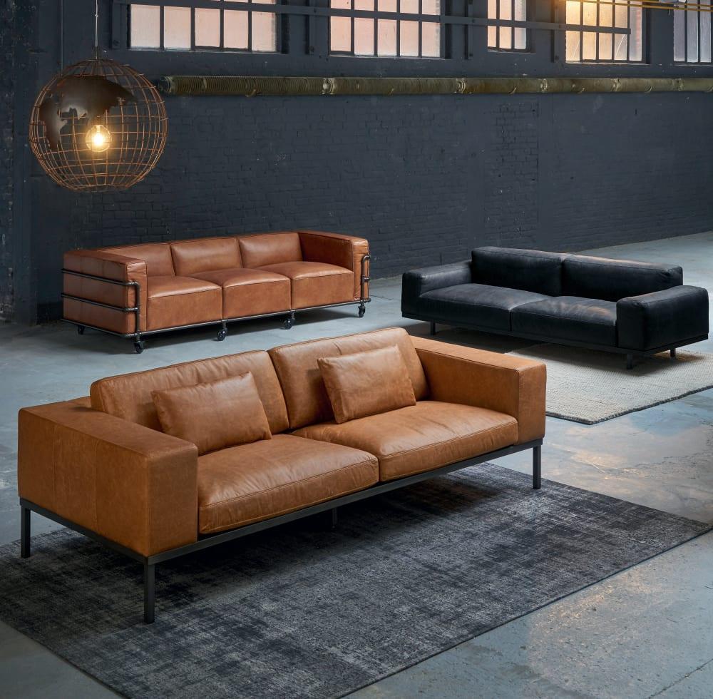 4 Sitzer Sofa im Industriestil aus Leder havannafarben