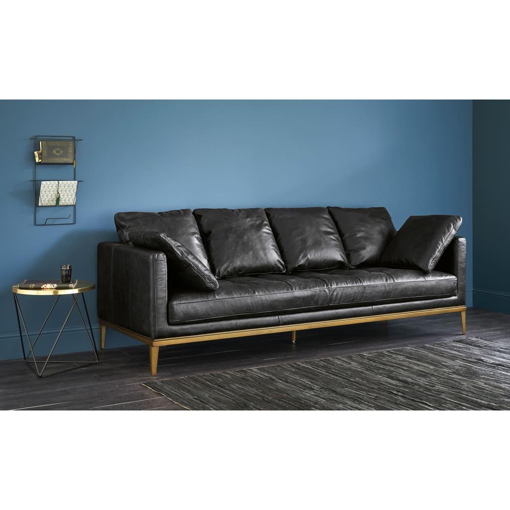 4 sitzer sofa schwarzer lederbezug foals maisons du monde. Black Bedroom Furniture Sets. Home Design Ideas