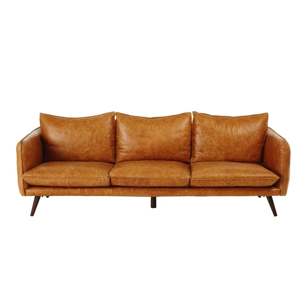 4 Sitzer Vintage Sofa Kamelfarbener Lederbezug Morgan Maisons Du