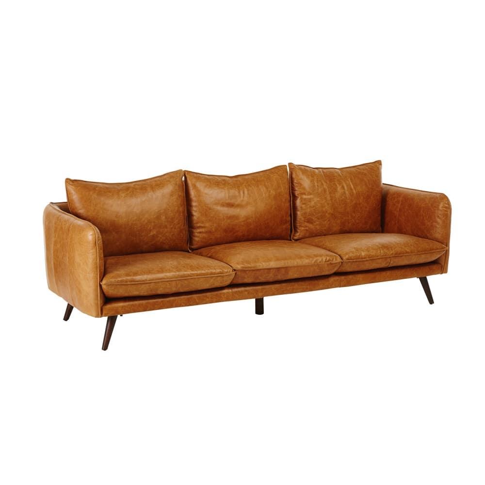 4 sitzer vintage sofa kamelfarbener lederbezug morgan maisons du monde. Black Bedroom Furniture Sets. Home Design Ideas