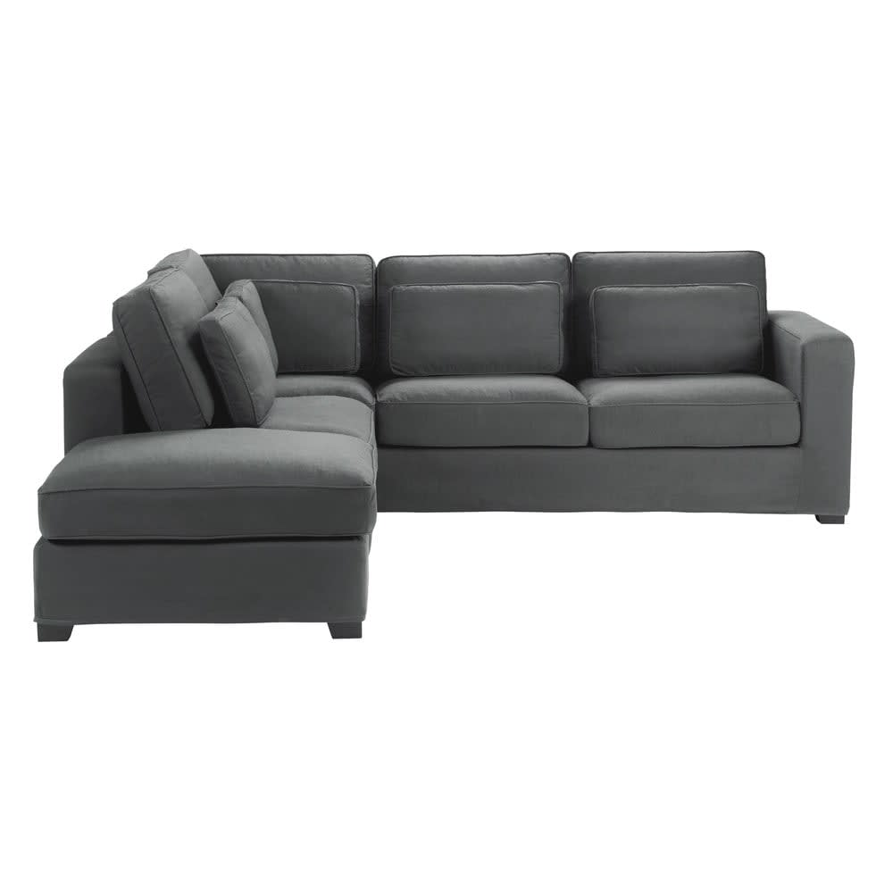 Storslått 5 seater cotton corner sofa in slate grey Milano | Maisons du Monde LZ-76