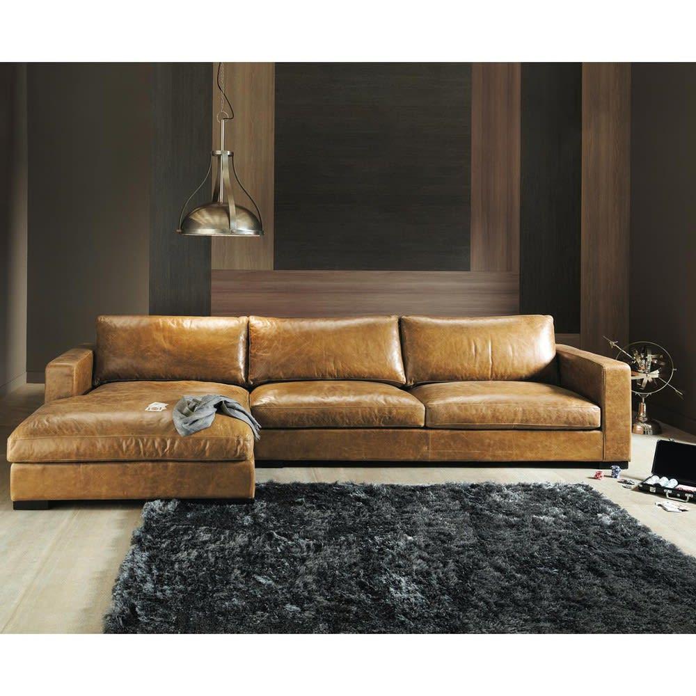 5 Seater Vintage Leather Corner Sofa Camel Lincoln