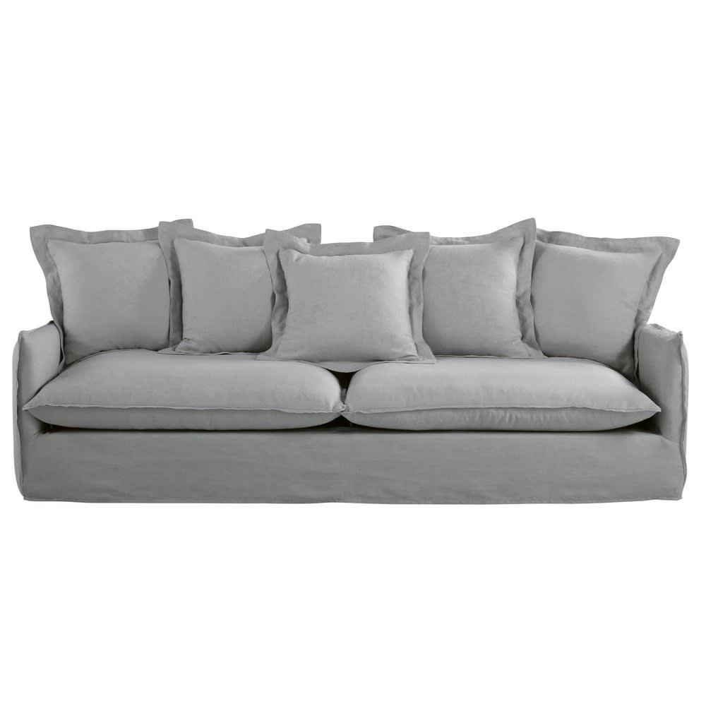 5 Sitzer Sofa Bezug Aus Gewaschenem Leinen Hellgrau Barcelone