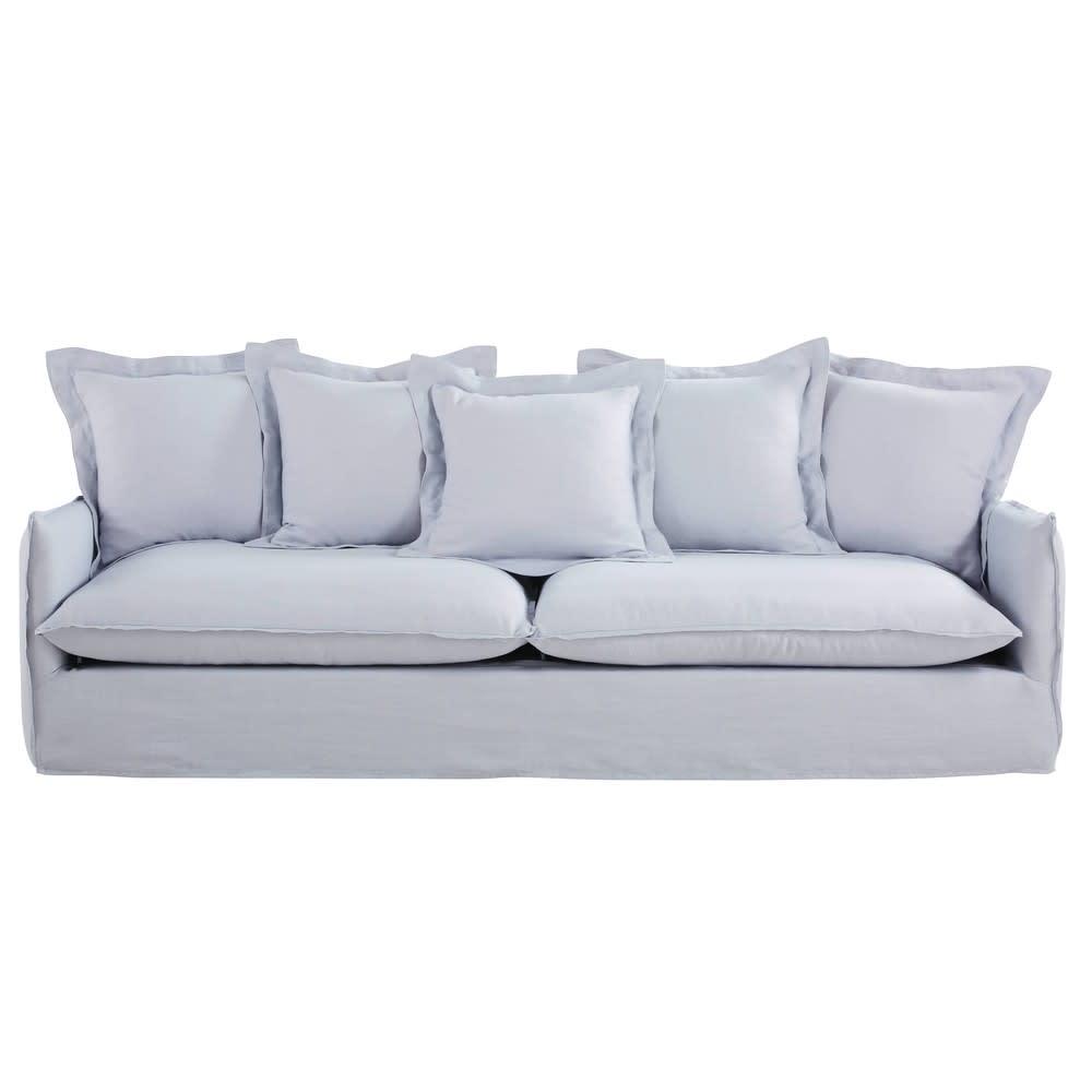 5 Sitzer Sofa Bezug Aus Gewaschenem Leinen Wolkengrau
