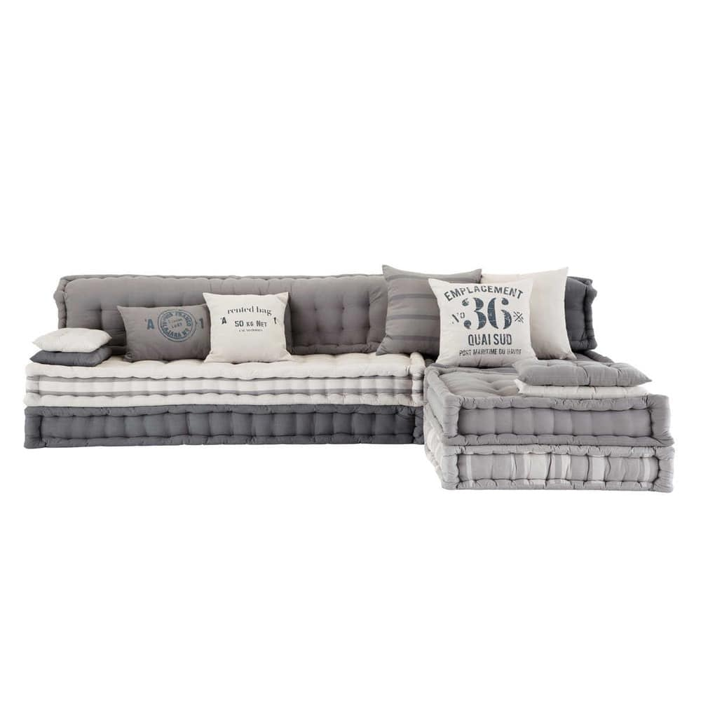 Maison Du Monde Materassi.6 Seater Cotton Modular Corner Day Bed In Grey Iroise Maisons Du Monde