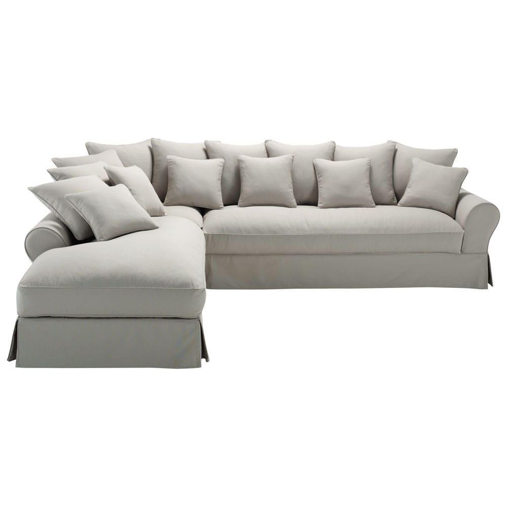 6 Seater Light Grey Cotton Left Hand Corner Sofa