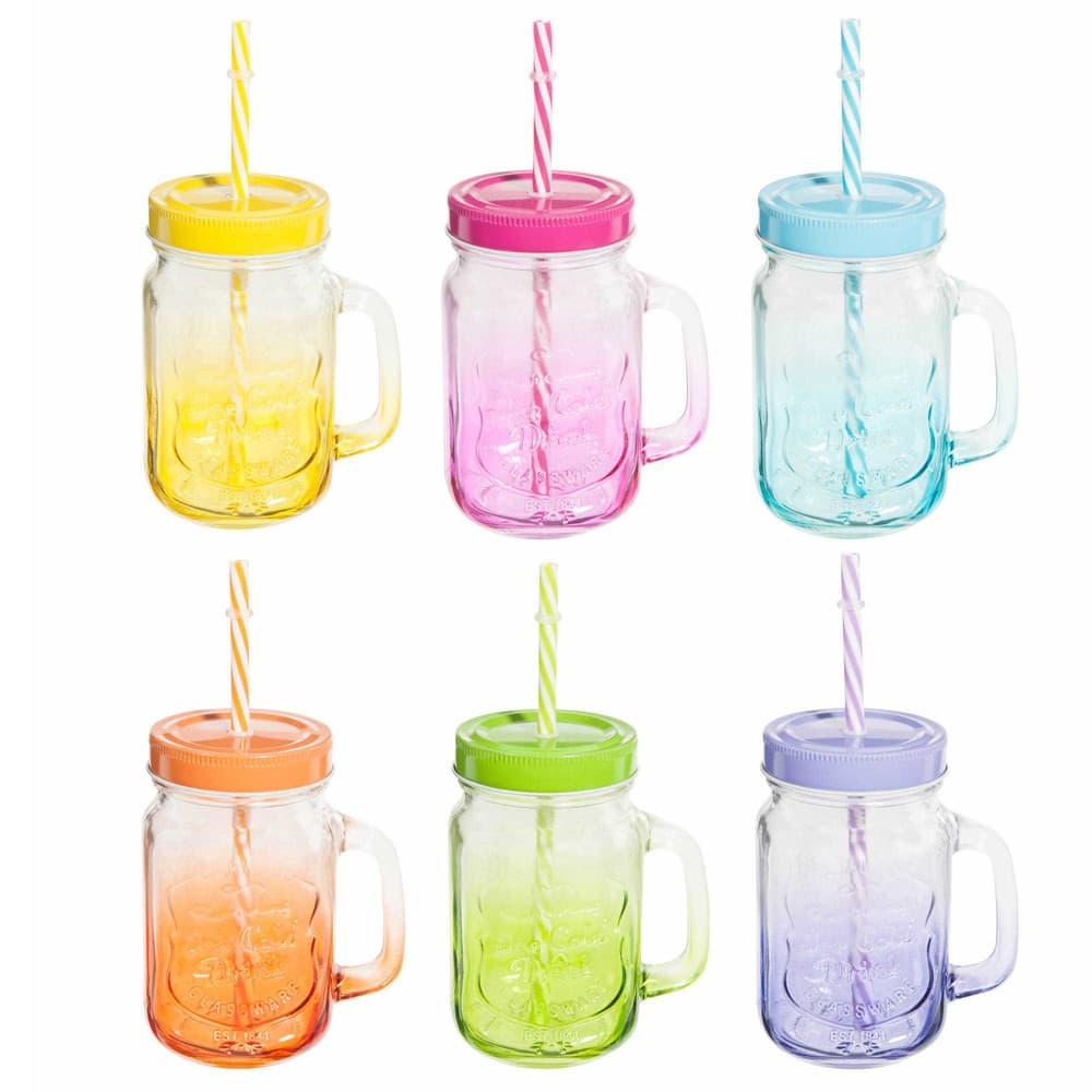 6 Tinted Glass Jars Box with Metal Holder Arc En Ciel   Maisons du