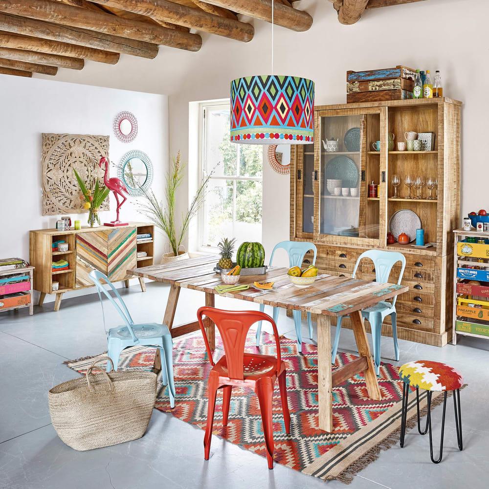 Woollen Woven Rug Multicoloured 140 X 200cm Acapulco Maisons Du Monde