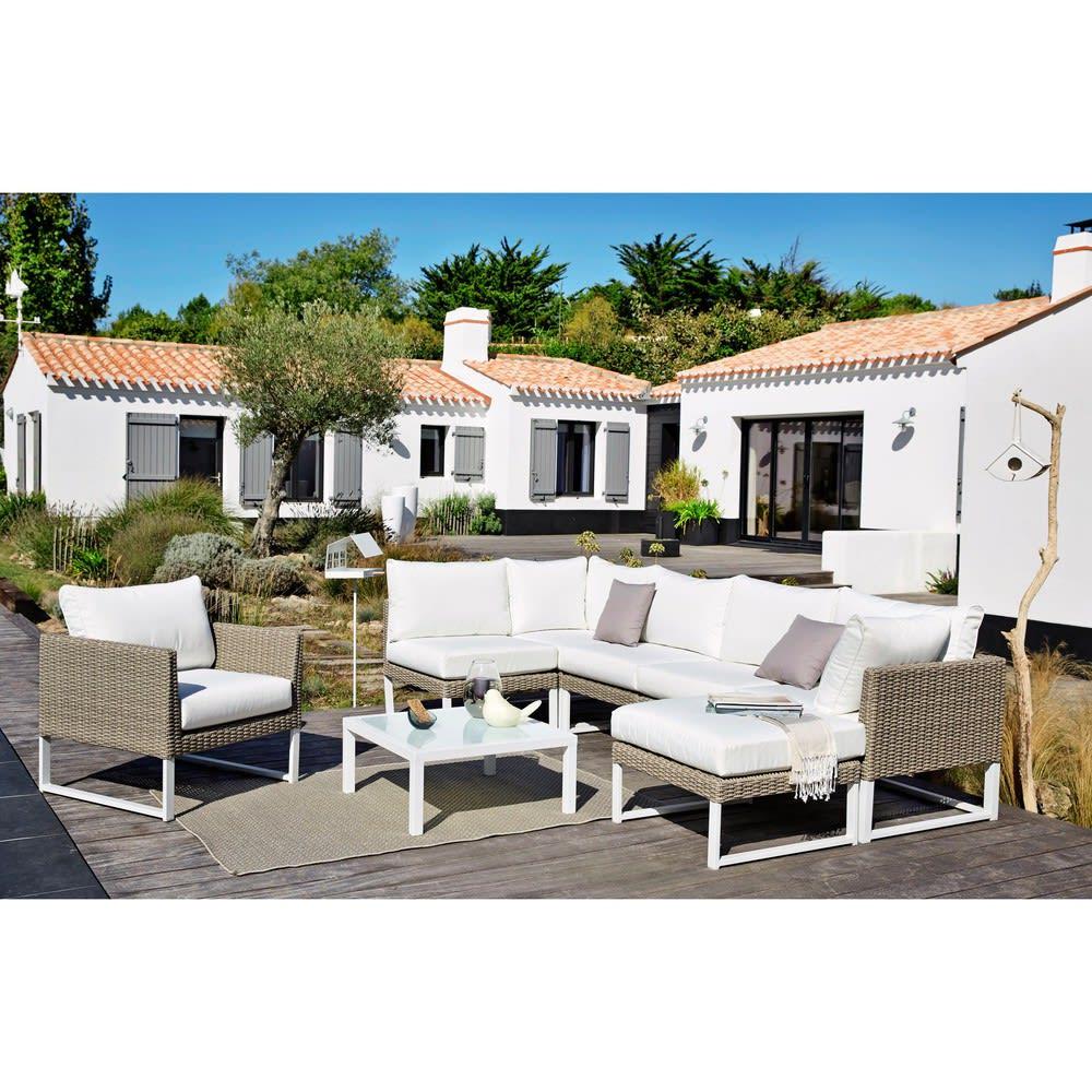 Accoudoir droit de canapé de jardin en résine tressée blanc