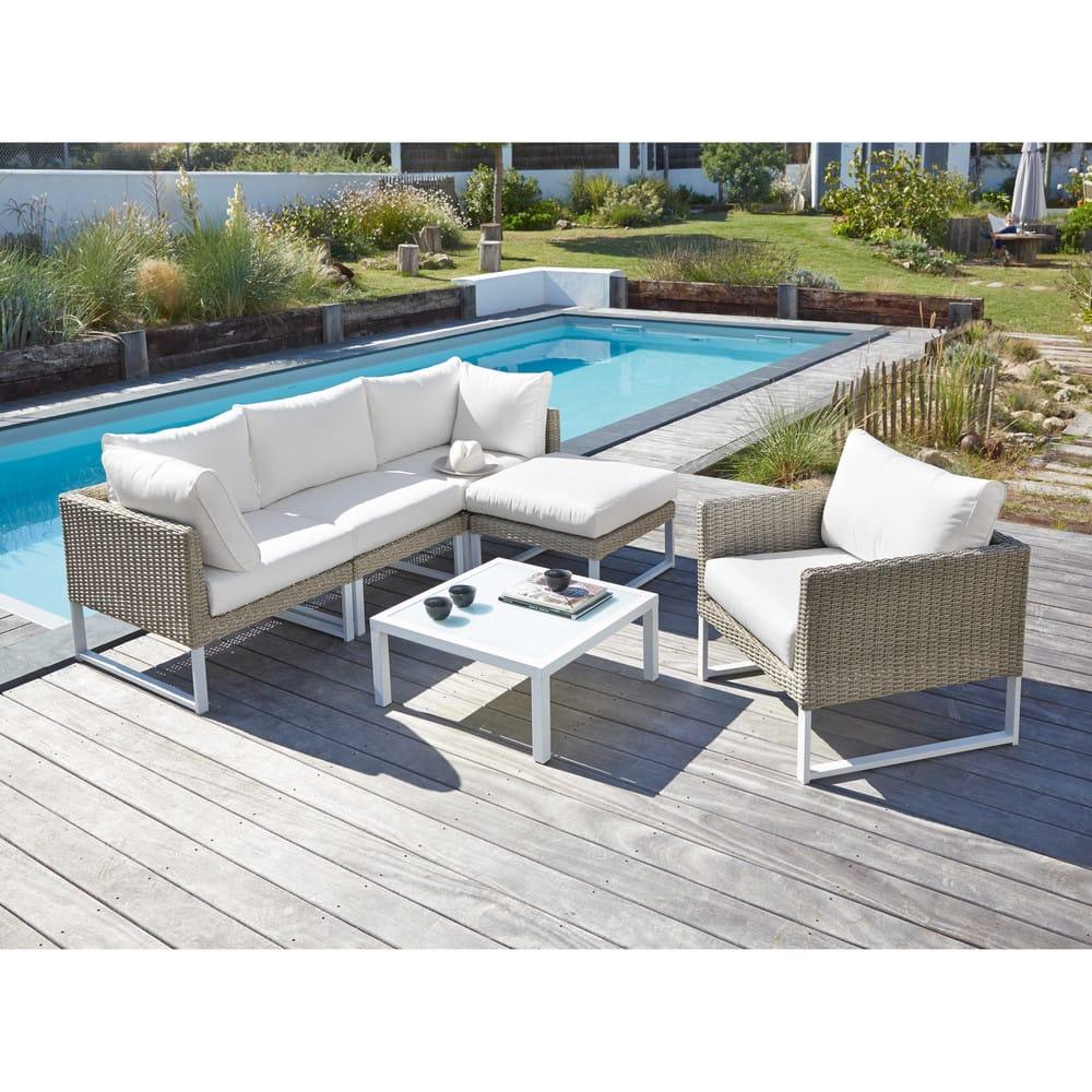 accoudoir droit de canap de jardin en r sine tress e blanc lodge maisons du monde. Black Bedroom Furniture Sets. Home Design Ideas