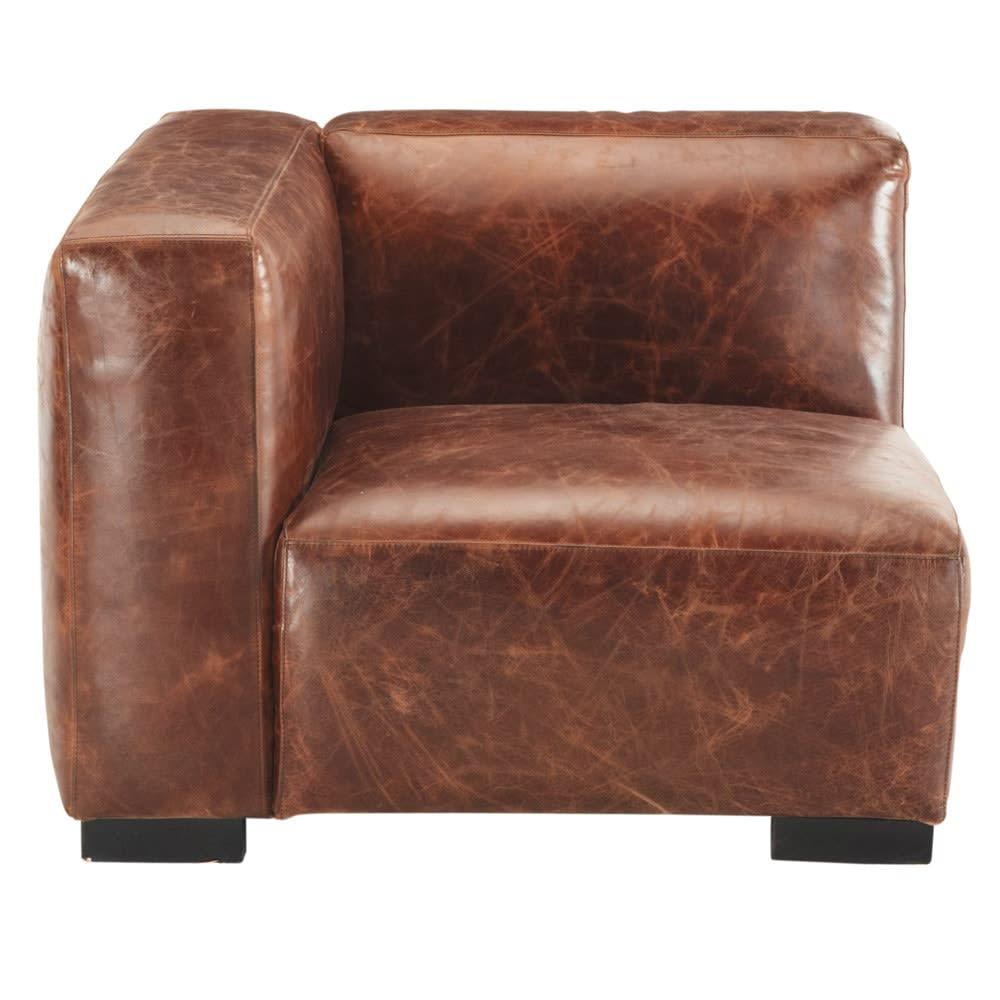 accoudoir gauche de canap en cuir marron john maisons. Black Bedroom Furniture Sets. Home Design Ideas