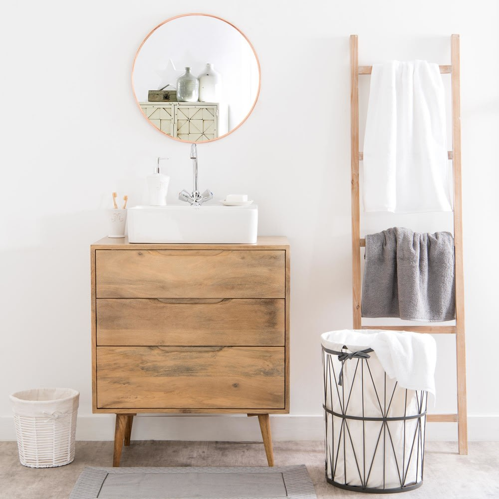 Alfombra de baño beige de algodón 50 × 80 Hôtel | Maisons ...