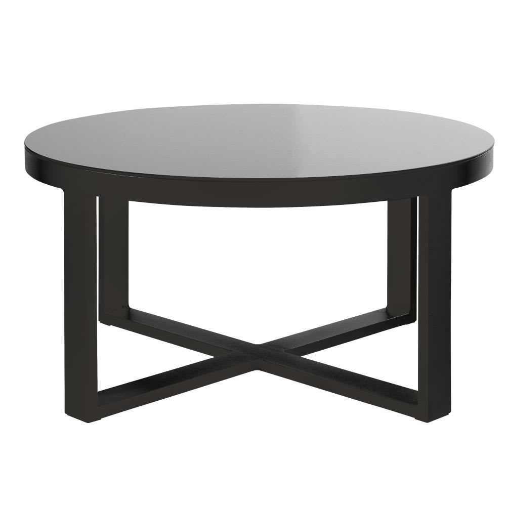 Aluminium and Black Tempered Glass Round Garden Coffee Table Thetis ...