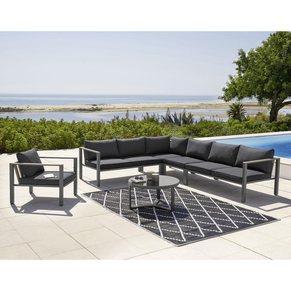 Angle de canap de jardin en aluminium anthracite bergame maisons du monde for Petit canape de jardin
