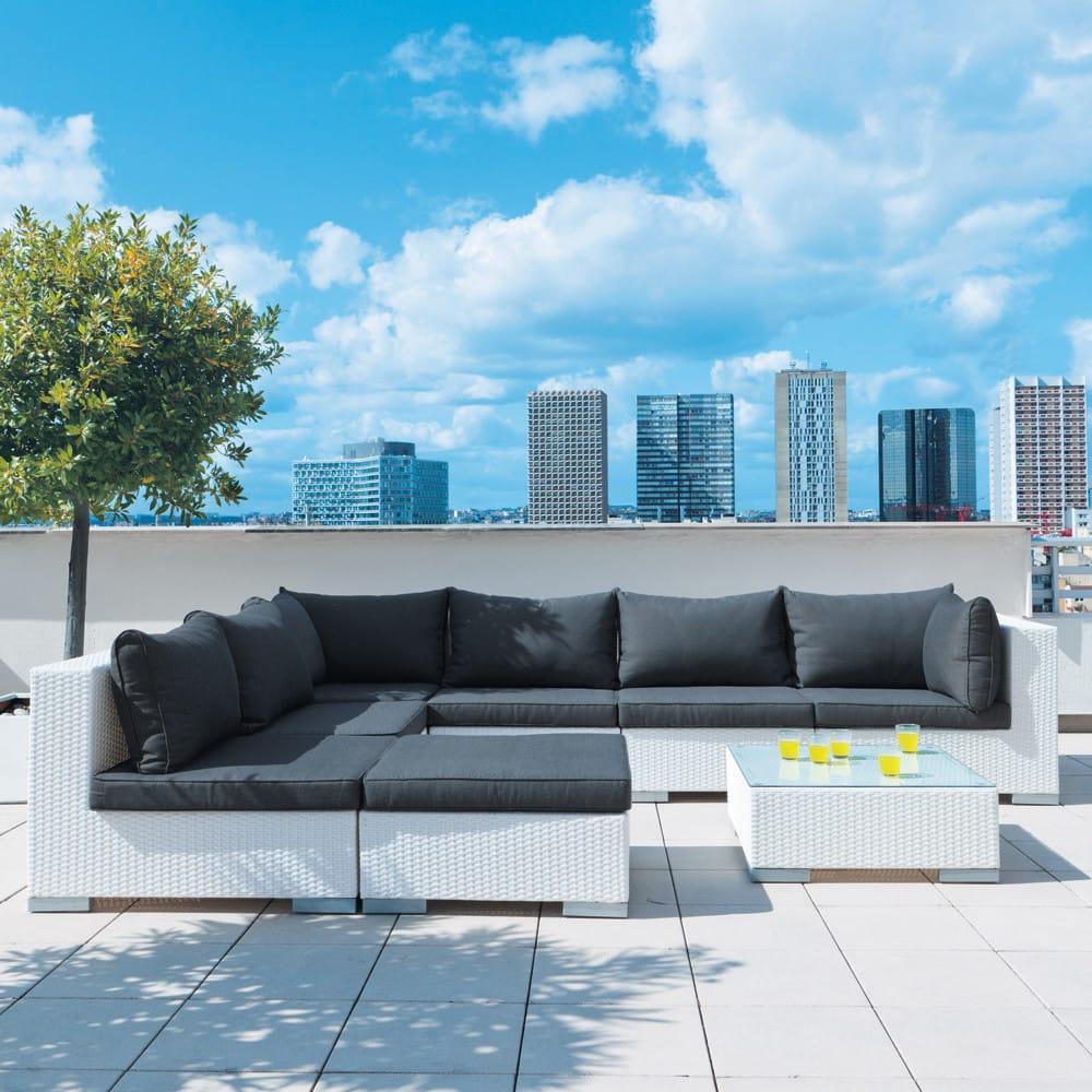 angle de canap de jardin en r sine tress e blanc antibes. Black Bedroom Furniture Sets. Home Design Ideas