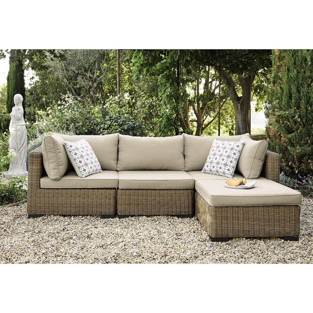 angle de canap de jardin en r sine tress e et tissu beige sable fidji maisons du monde. Black Bedroom Furniture Sets. Home Design Ideas