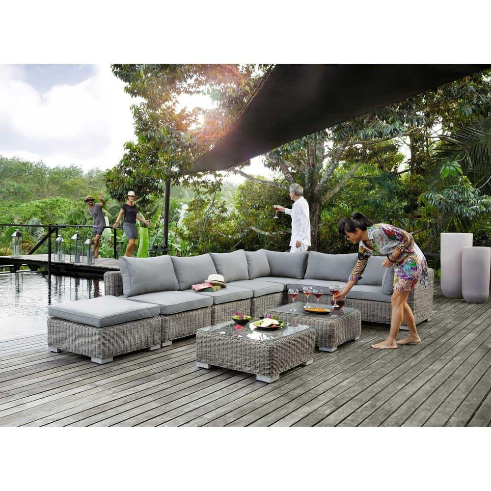 Angle de canapé de jardin en résine tressée grise Cape ...