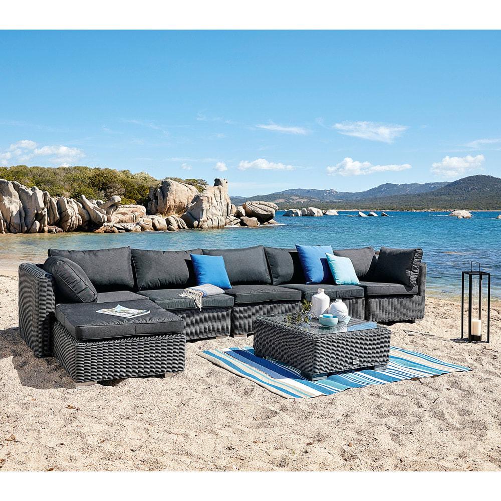 angle de canap de jardin en r sine tress e noire cendre porto vecchio maisons du monde. Black Bedroom Furniture Sets. Home Design Ideas