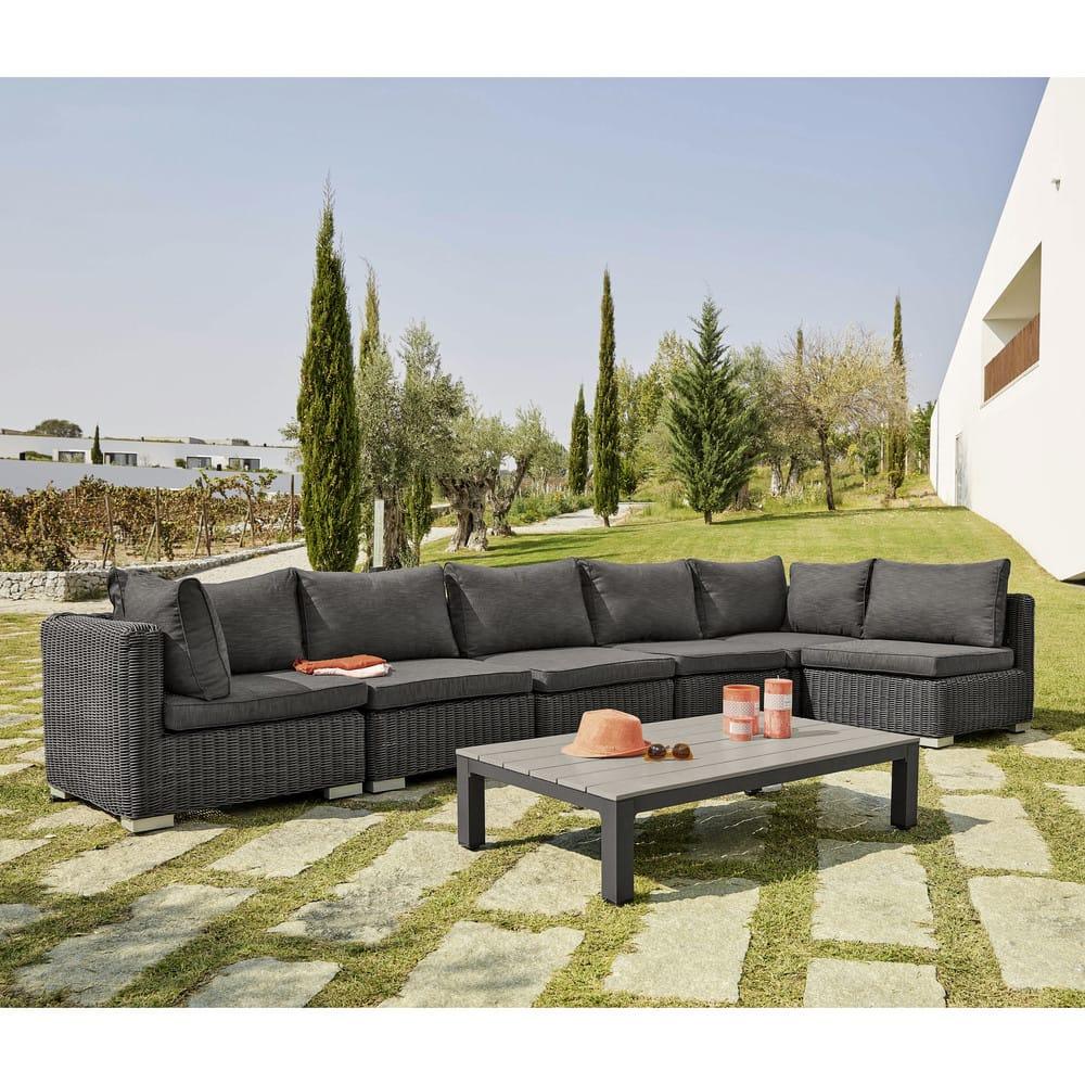 angle de canap de jardin en r sine tress e noire cendre. Black Bedroom Furniture Sets. Home Design Ideas