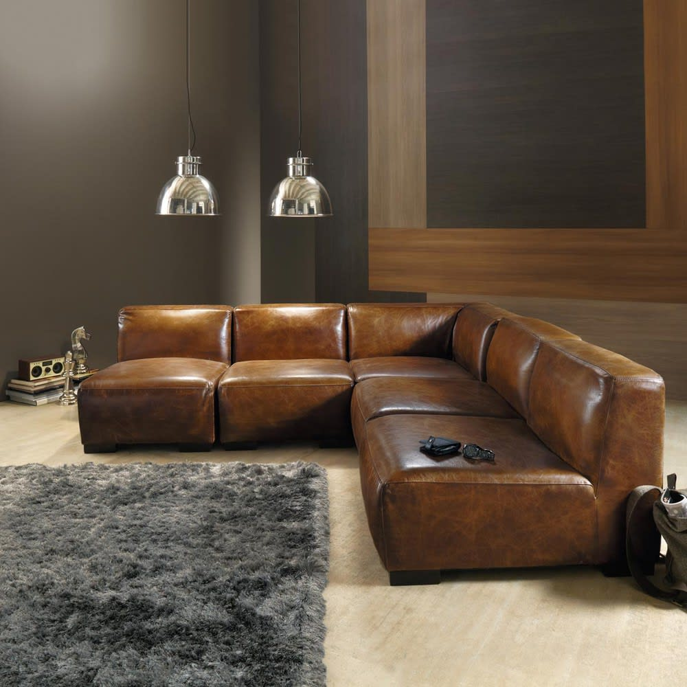 angle de canap en cuir marron john maisons du monde. Black Bedroom Furniture Sets. Home Design Ideas