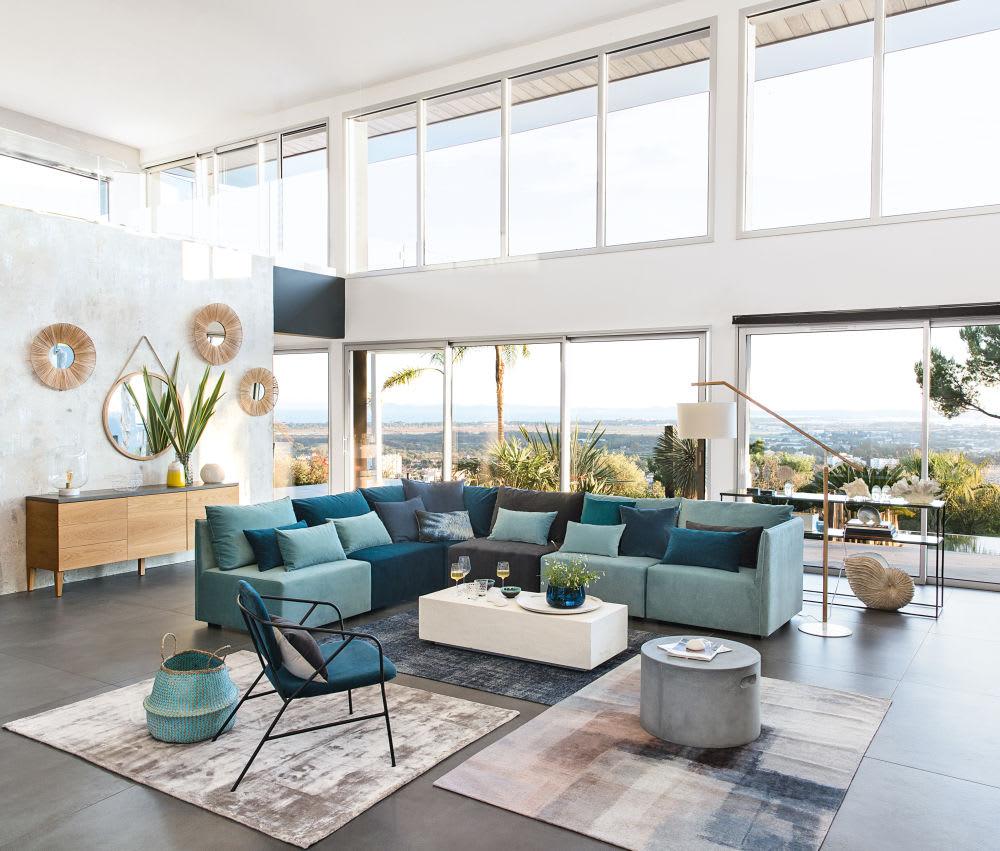 angle de canap en velours bleu paon floyd maisons du monde. Black Bedroom Furniture Sets. Home Design Ideas