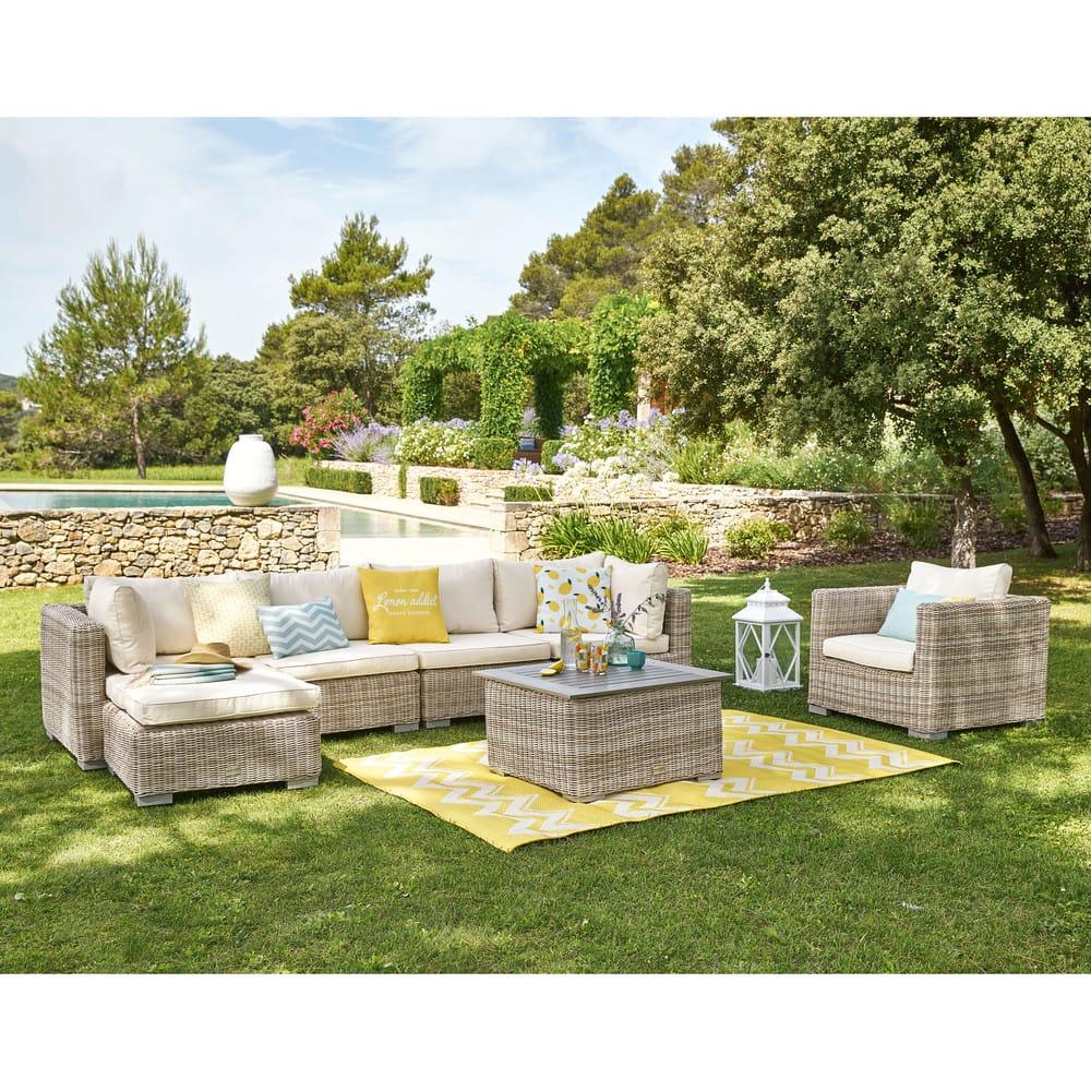 Angle de jardin en résine tressée beige et coussins écrus Sardaigne ...