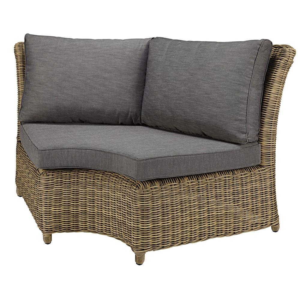 Angolo arrotondato di divano da giardino in resina intrecciata e ...