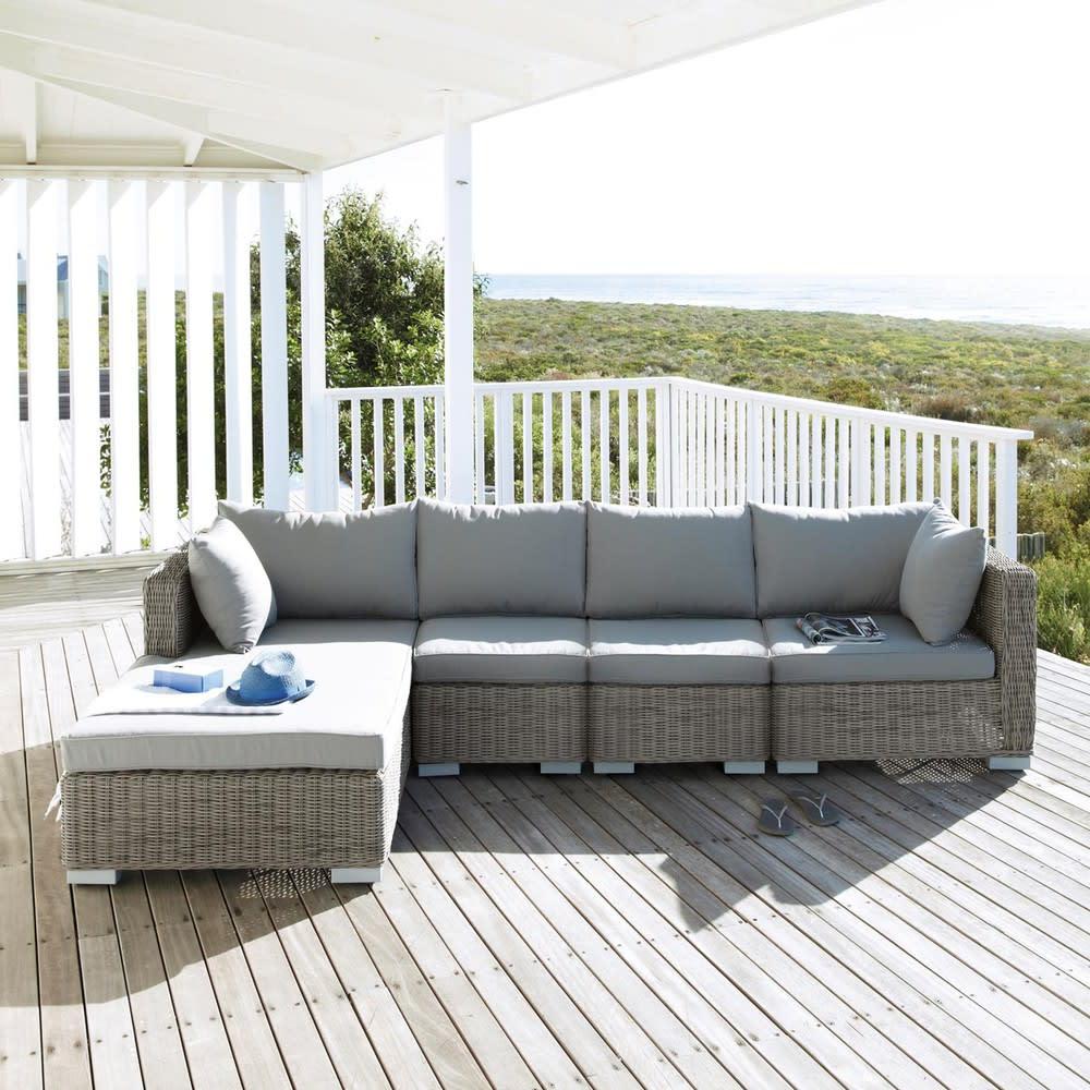 Angolo di divano da giardino in resina intrecciata grigia cape town maisons du monde - Divano da giardino ...