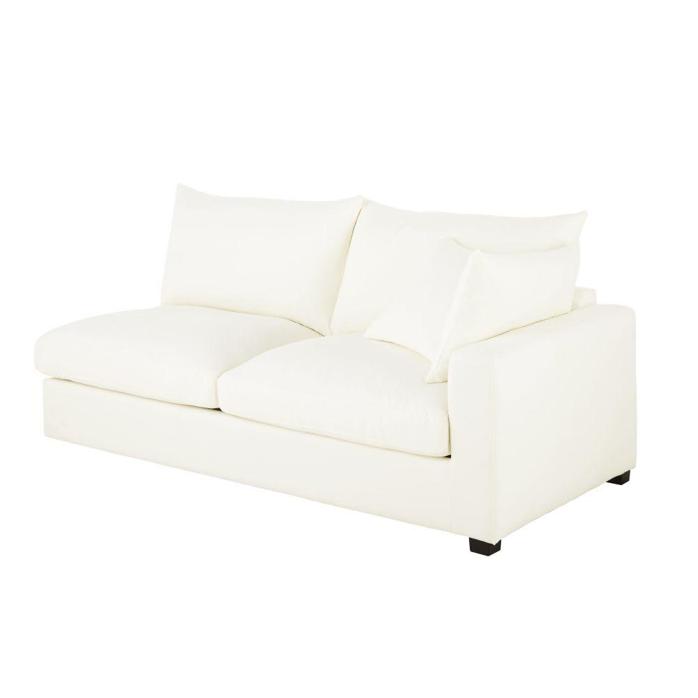 Angolo di divano destro 2 posti con bracciolo avorio in cotone ...