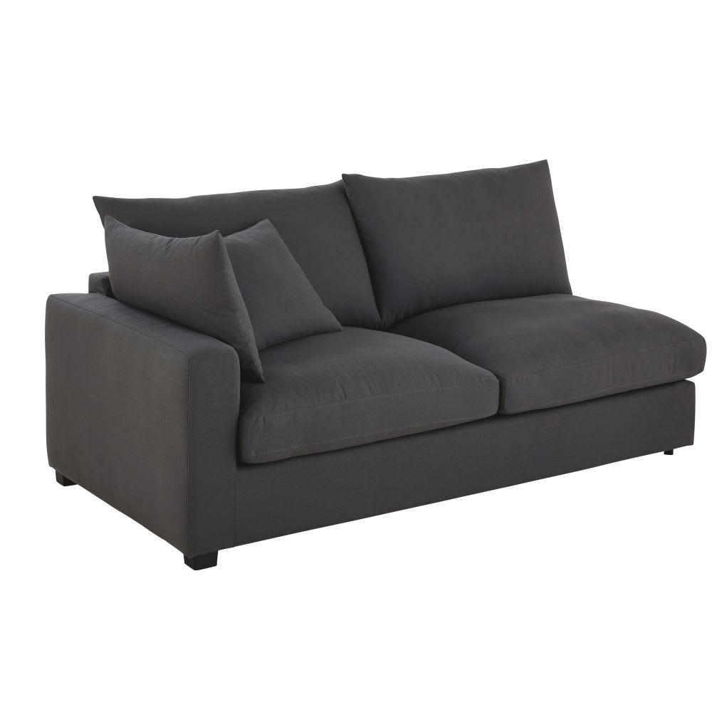 Angolo di divano sinistro 2 posti con bracciolo grigio ardesia in ...