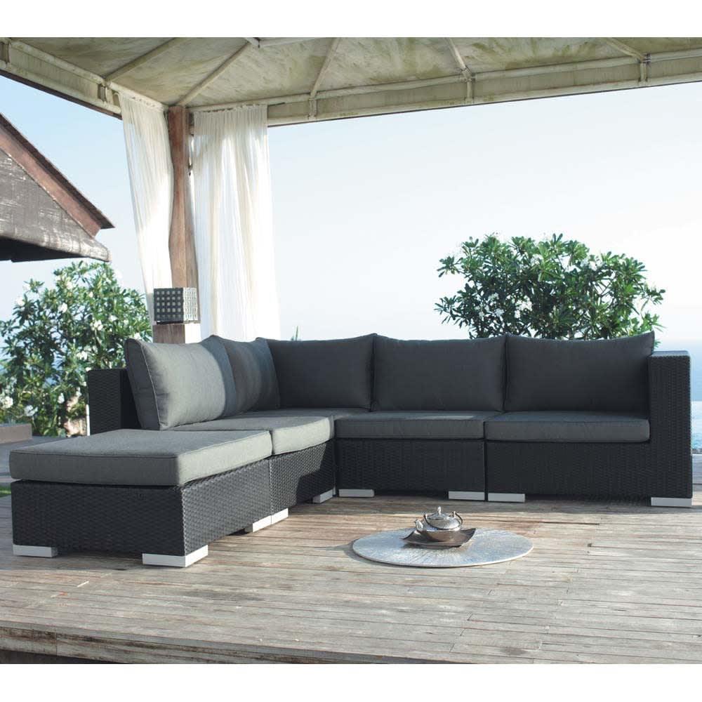 Angolo nero di divano da giardino in resina intrecciata antibes maisons du monde - Divano da giardino ...