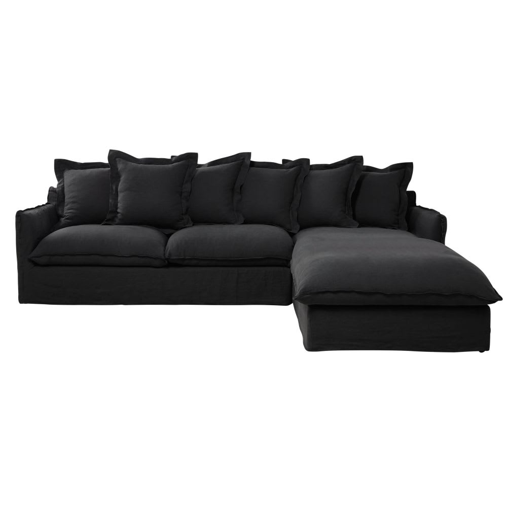 Anthracite Grey 6-Seater Washed Linen Right-Hand Corner Sofa Bed ...