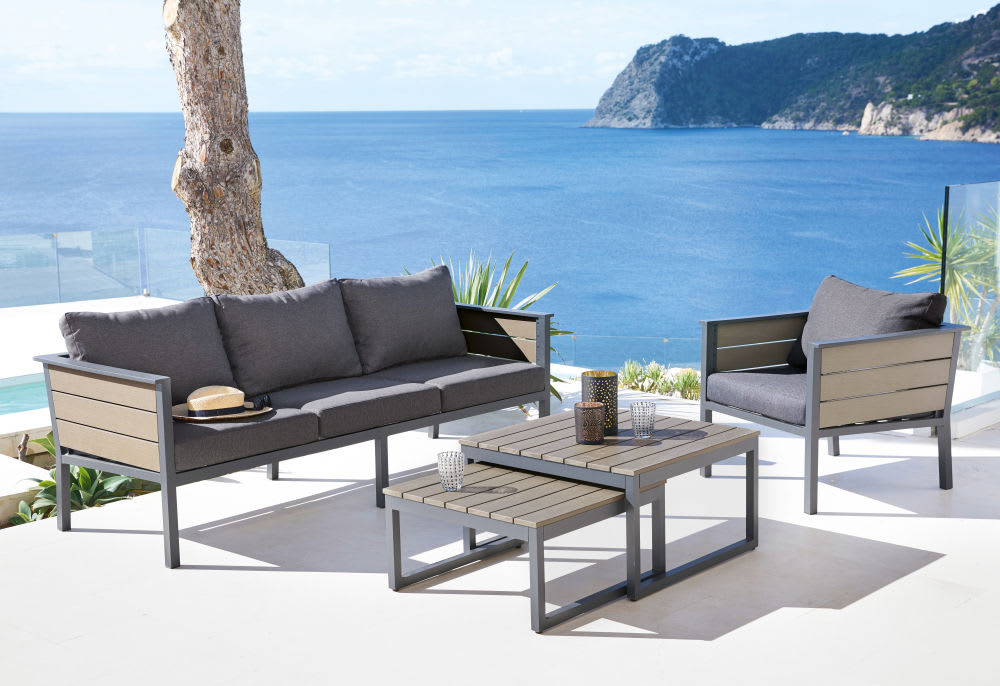 Anthracite Grey Aluminium 3-Seater Garden Sofa Escale ...