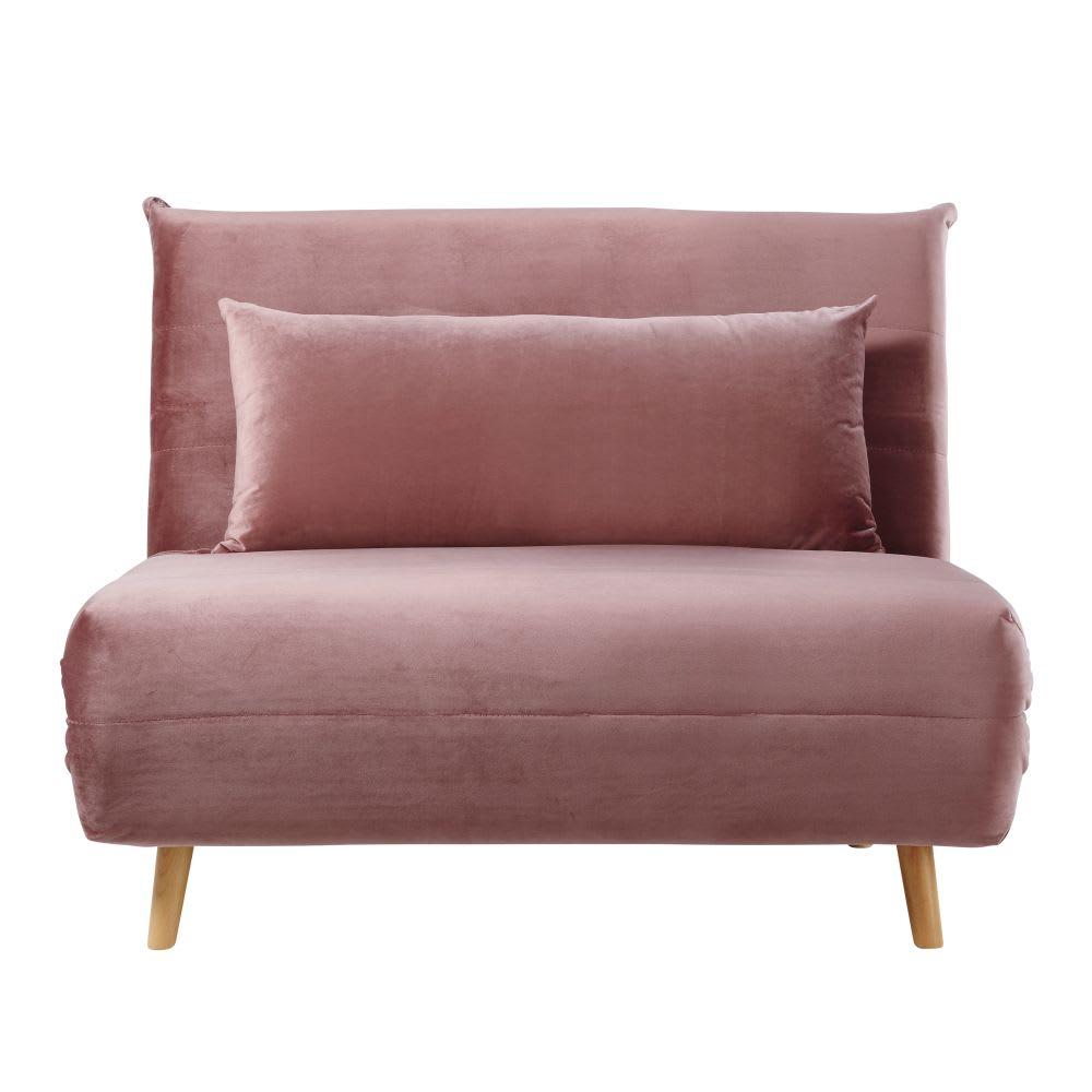 Antique Pink Single Velvet Day Bed Sofa Nio Maisons Du Monde