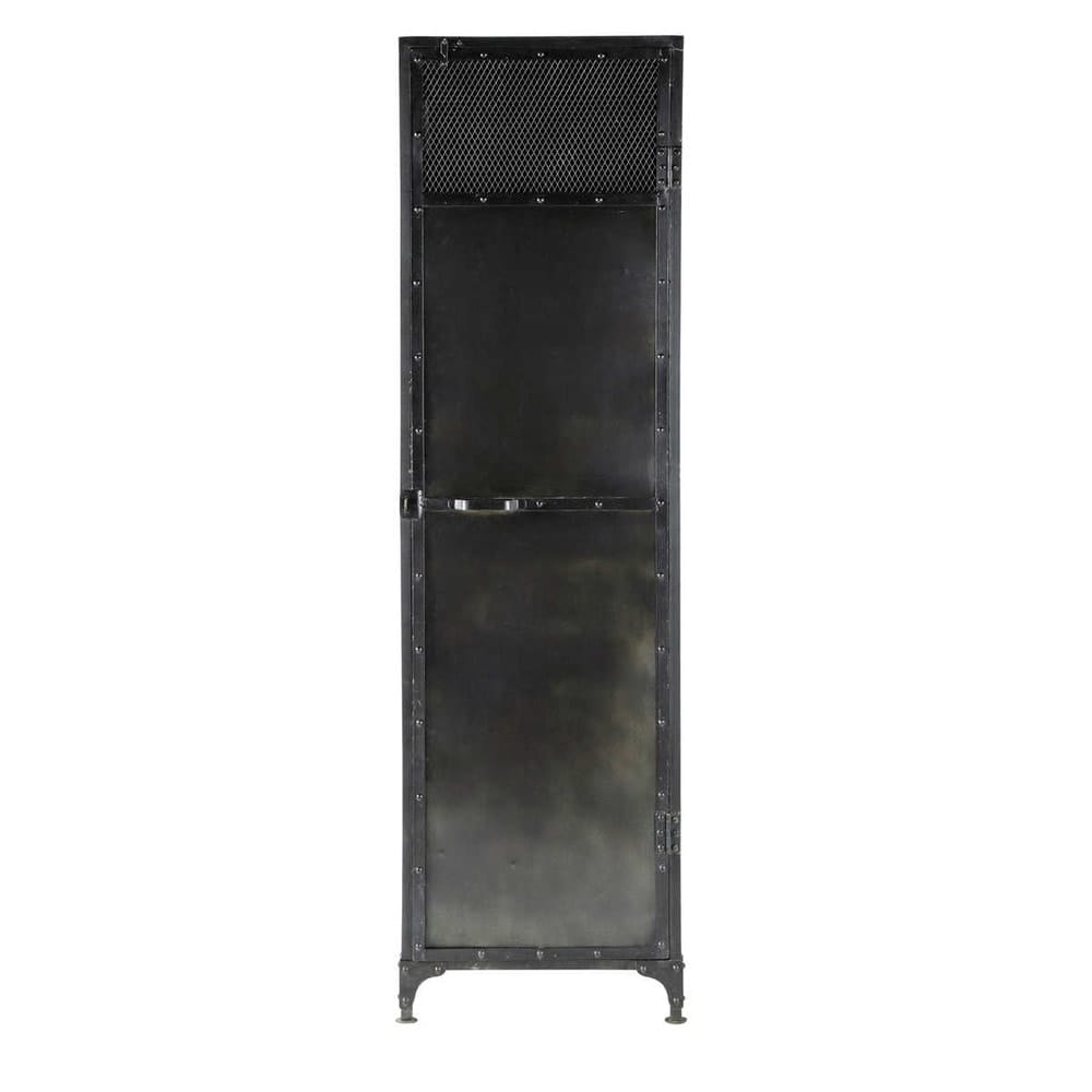 Antiqued metal closet in black w 55cm edison