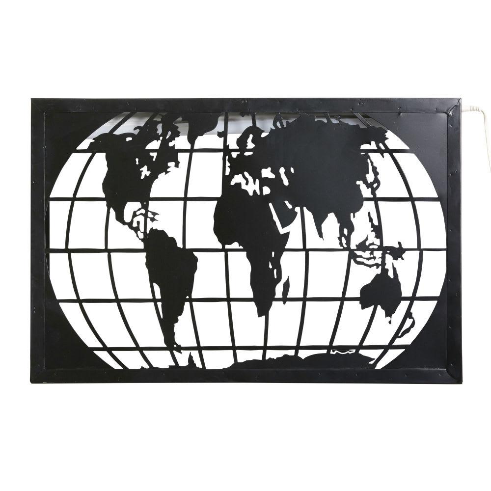 applique carte du monde en m tal noir d coup mappemonde. Black Bedroom Furniture Sets. Home Design Ideas