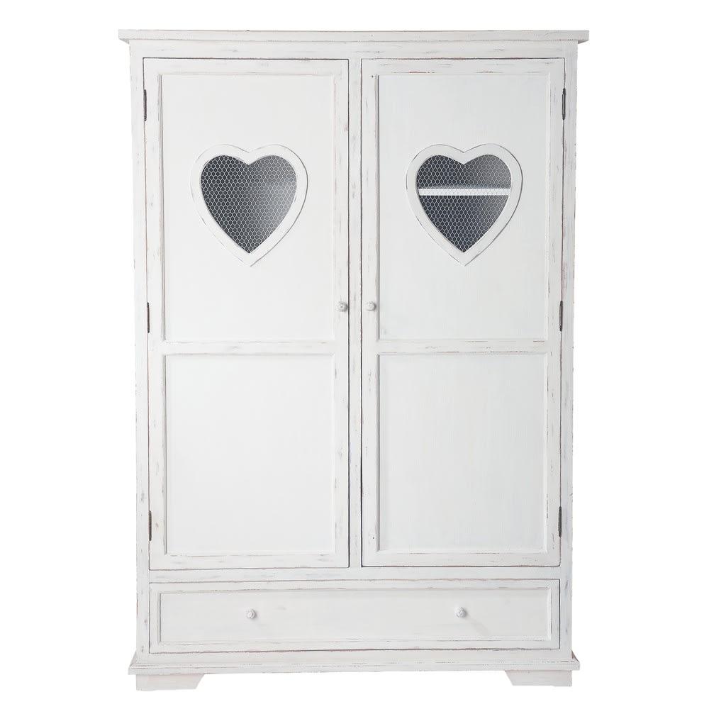 Armadio bianco 2 ante e 1 cassetto Valentine | Maisons du ...