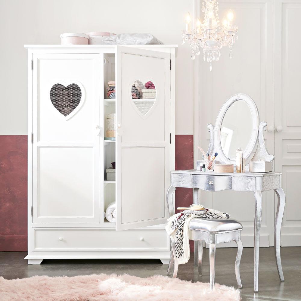 Armadio bianco 2 ante e 1 cassetto Valentine   Maisons du ...