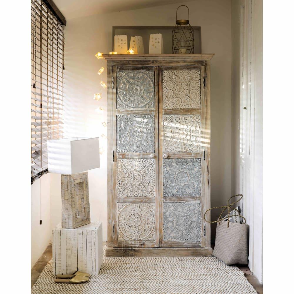 armoire en manguier massif blanche et argent e l 100 cm annapurna maisons du monde. Black Bedroom Furniture Sets. Home Design Ideas