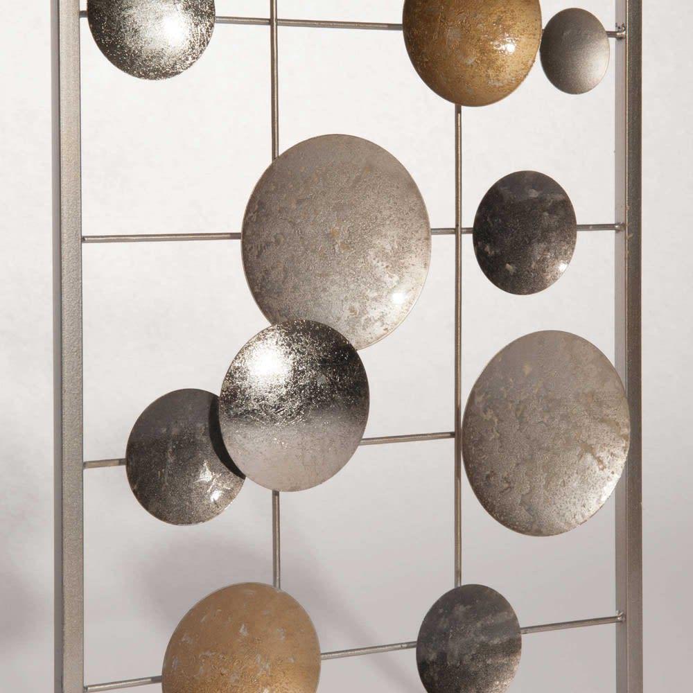 arredo da parete in metallo dorato e argentato 31x90cm