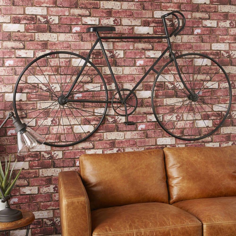 Arredo da parete nero a forma di bicicletta in metallo l for Maison du monde arredo bagno
