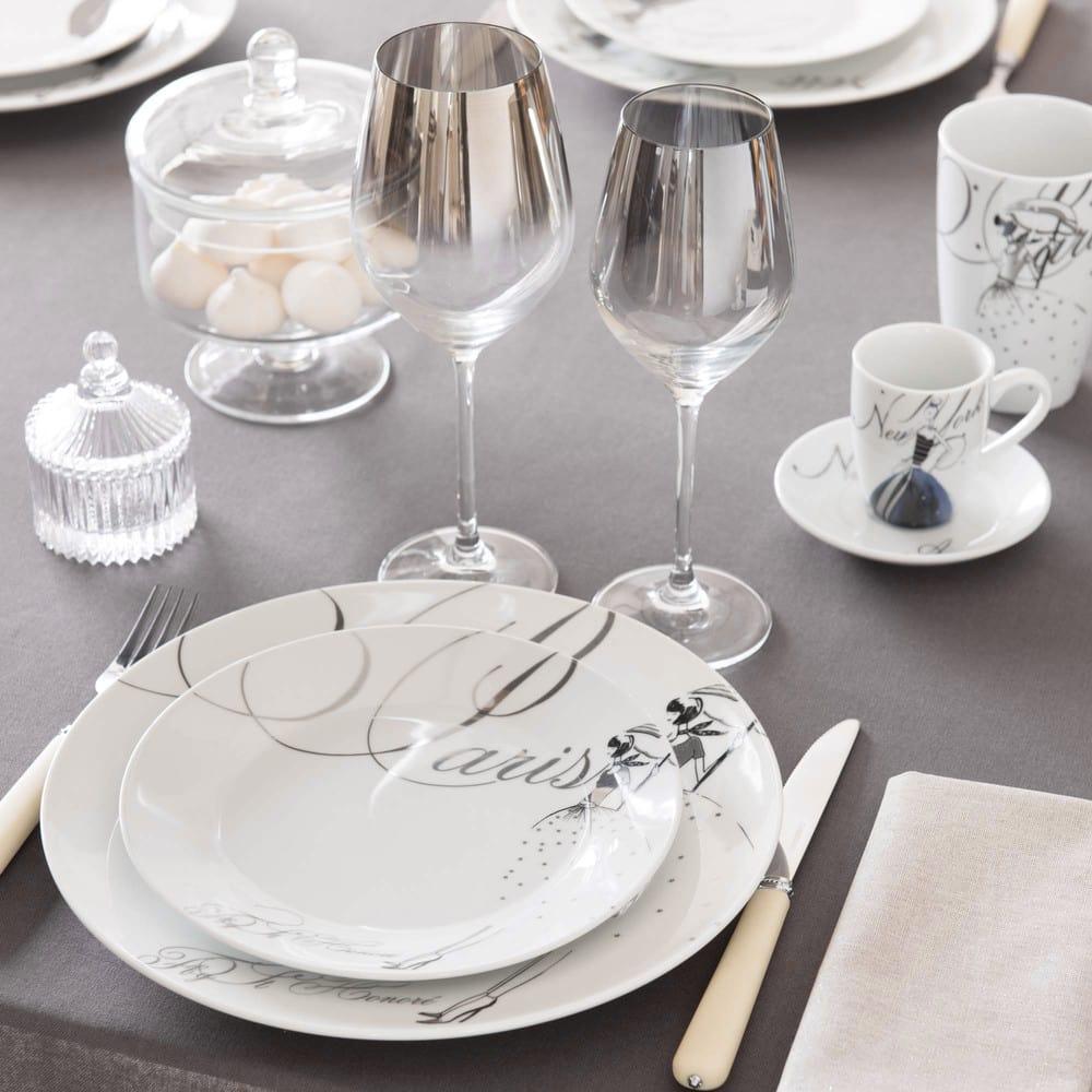 Assiette plate en porcelaine blanche D 27 cm Paris Modeuse   Maisons du Monde